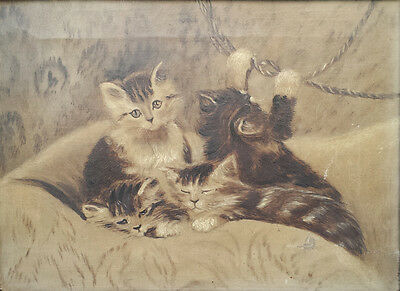 Kittens / Cats Playing - Beautiful Original Victorian Oil Painting On Canvas
