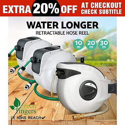 10m 20m 30m Retractable Garden Water Hose Reel Auto Rewind Gun Wall Greenfingers