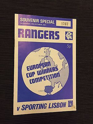 1971/2 Rangers v Sporting European Cup Winners Run Immaculate Condition Original
