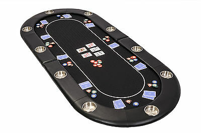 Riverboat Folding Poker Table Top in Black Speed Cloth 200cm Seats 10 People