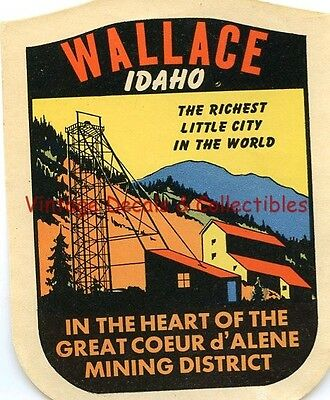 VINTAGE WALLACE IDAHO STATE SOUVENIR TRAVEL DECAL WINDOW WINDSHIELD LABEL 1940s