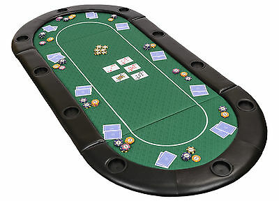 Folding Poker Table Top in Green Speed Cloth with Leather Armrest and Case 200cm