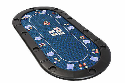 Folding Poker Table Top in Blue Speed Cloth with Leather Armrest and Case 200cm