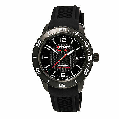 Wenger 01.0851.124 Gent's Black Dial Silicone Strap Swiss Watch
