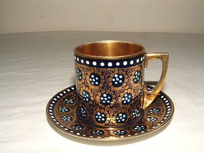 Royal Vienna Vintage Jewel Design Coffee Cup & Saucer  Truly Stunning