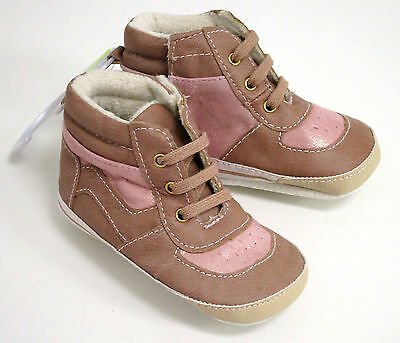 Baby Girls Tan & Pink Soft Lined High Top Boots Pram Shoes 0-6 Months