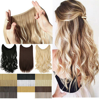 Secret Headband  Elastic Wire One Piece No Clip Hair Extensions Curly Straight H
