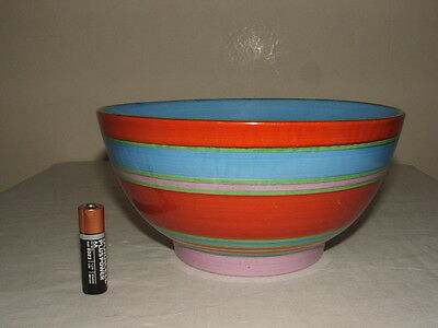 Clarice Cliff Art Deco Liberty Stripes Footed Fruit Bowl  Truly Stunning