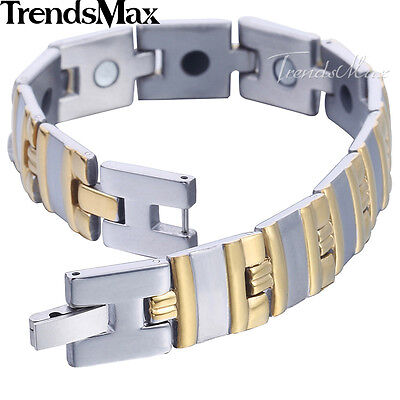 13mm Mens Women Bracelet Bangle Silver Gold Tone Stainless Steel Heart Chain