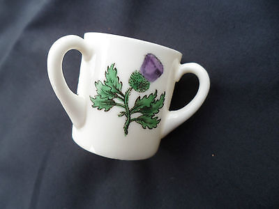 Small Goss Porcelain 3 Handled Mug With Thistle Motif. Guaranteed Perfect Cond.