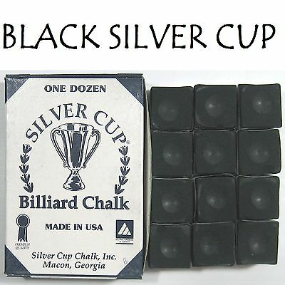 1 x BOX OF BLACK SILVER CUP Pool Cue Chalk !!!     quick sale