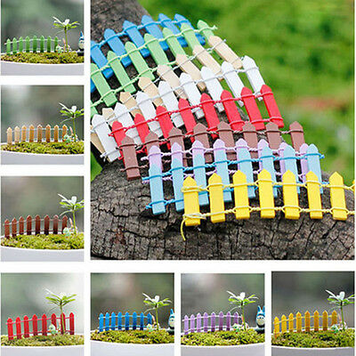 5X Wooden Palisade Fence Plant Pot Fairy Scenery Decor Garden Ornament Accessory