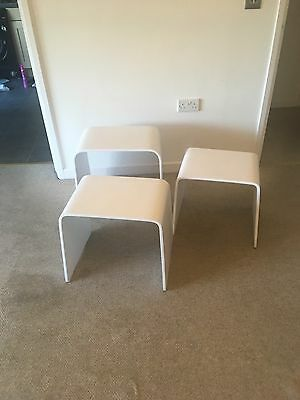 3 White Hand Painted Nest Of Side Tables Lounge