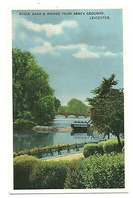 Leicester - a 'Newcolour' photographic postcard of the River Soar and  Bridge