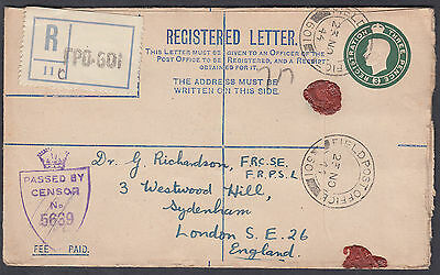 1944 FPO 601 (North Africa?) Forces Registered Envelope Censor to Sydenham
