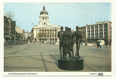 Nottingham - a larger format, photographic postcard of the Old Market Square