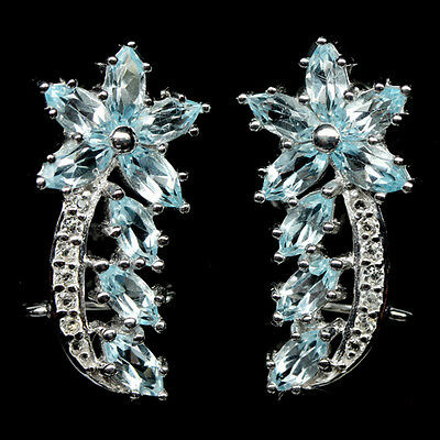 Alluring! Natural! Sky Blue, White Topaz Sterling 925 Silver Earrings White Gold