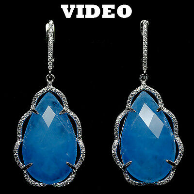 SUPER! NATURAL! 15 X 25 mm. BLUE QUARTZ & WHITE CZ STERLING 925 SILVER EARRINGS