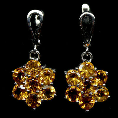 Ravishing! Natural! Golden Yellow Citrine Sterling 925 Silver Earrings White Gp