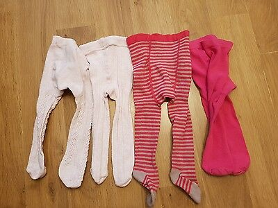 baby girls 3-6 months tights x 4 pairs pinks
