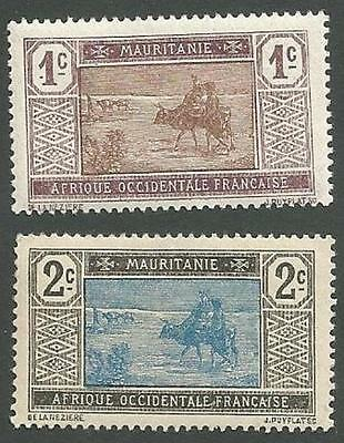 Mauritania Scott#s 18-19, Crossing the Desert, Unused, OG, Hinged, 1913