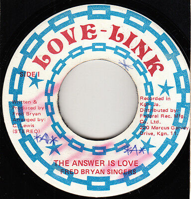 "70s 80s Reggae FRED BRYAN SINGERS the answer is love Jamaican 7"" Vinyl 45"