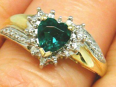 9ct Gold 9K Gold Diamond and emerald Hallmarked ring size P , Boxed