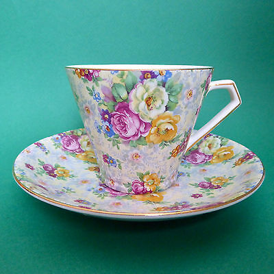 Lord Nelson Rose Time Tea Cup Saucer Chintz Floral Conical England Vtg