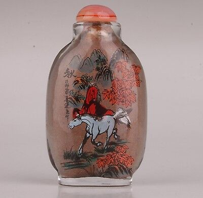Glass Handmade Painting Autumn Scenery Ornament Horse Snuff Bottle Collectable
