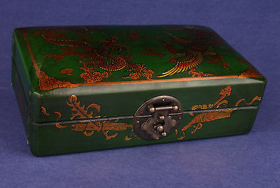 Green Dragon Phoenix Ornament Leather Jewelry Box Marriage Some Columns Collecta