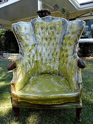 Antique Victorian Carved French Bergere Arm Chair