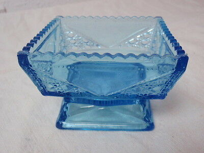 Antique Blue Glass Candy Dish Square Footed Pedestal Aqua EAPG Molded Pattern