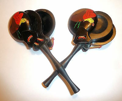 CASTANETS Pair Colorful Decoration w. Handles 1970s Plastic