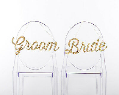 Gold Glitter Bride and Groom Chair Signs Wedding Bridal Shower Decoration