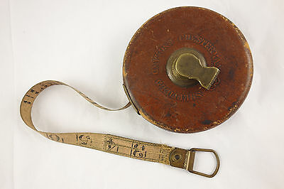 Antique Chesterman Sheffield England 50' Leather Case Brass Tape Measure 1908