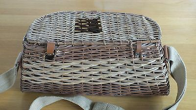 """Vintage. Small Wicker Trout Creel 15.5"""" x 7"""" x 5"""". webbing carry strap"""