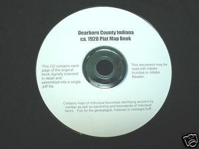 CD ~ 1920's Dearborn County Indiana Plat Map Atlas