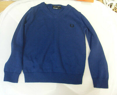 Fred Perry SY1320 Boys V-Neck Sweater Age 3-4 Years Blue Box1221 L