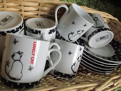 6 TASSES + sous tasses a café CHAT
