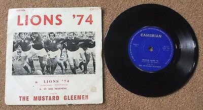 "British Lions 1974 THE MUSTARD GLEEMEN 7"" inch vinyl + with squad signatures"