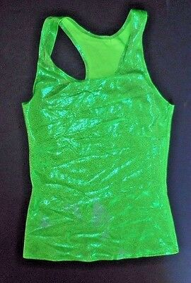 NWOT Axis RacerBack Tank Top Foil Lime97180 Gymnastics Dance Cheer Small adult