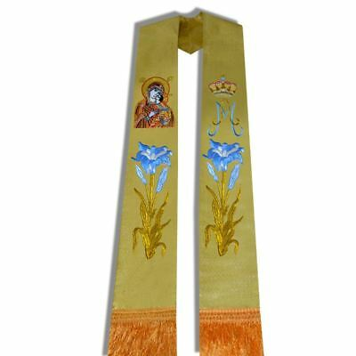 1Pc Church Priest Mass Stole Clergy Pastor Flower Cross Crown Embroidered Stole