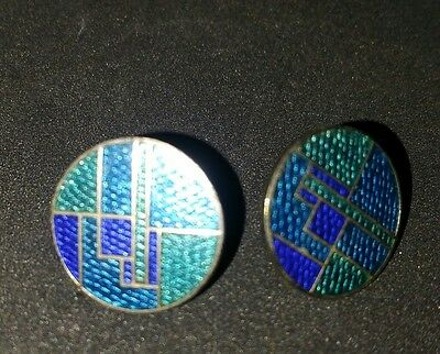 ROCCOCO Signed Enamel Abstract Blue Silver toned Design Pierced Earrings