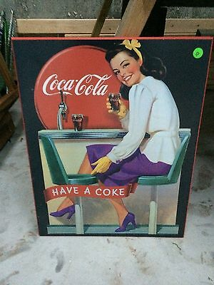 Coca Cola Have a Coke Girl At Bar Picture Poster Sign 20 by 16""