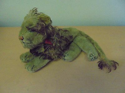 Vintage  Clemens Spieltiere Soft Toy Lion Teddy Bear C1950S Wood Tag Mohair