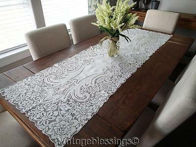 "Exquisite!  66"" Figural ANTIQUE Italian Point de Venise & Filet Lace RUNNER"