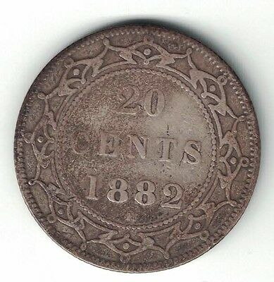 Newfoundland 1882 H 20 Cents Queen Victoria Canadian Sterling Silver Coin