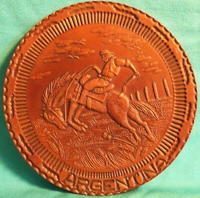 """Old HAND TOOLED Leather Round BUCKING BRONCO RIDER 6.5"""" Argentina SOUVENIR Plate"""