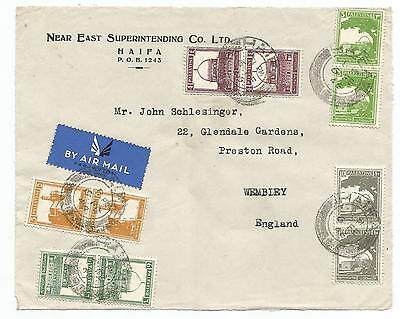 Palestine Haifa To England 1946 Cover Front