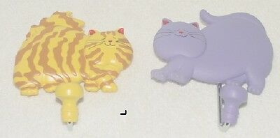 Fat Cats / Anne Ormsby Wall Hooks Purple And Yellow / Orange Lot Of 2